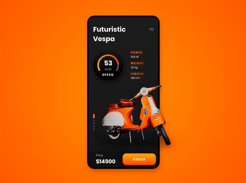 Futuristic-Vespa-black-and-orange-color-combinations-2020-example.