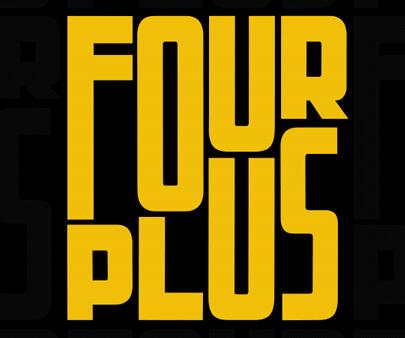 FourPlus-Stretching-typo-creative-typography-design-example.