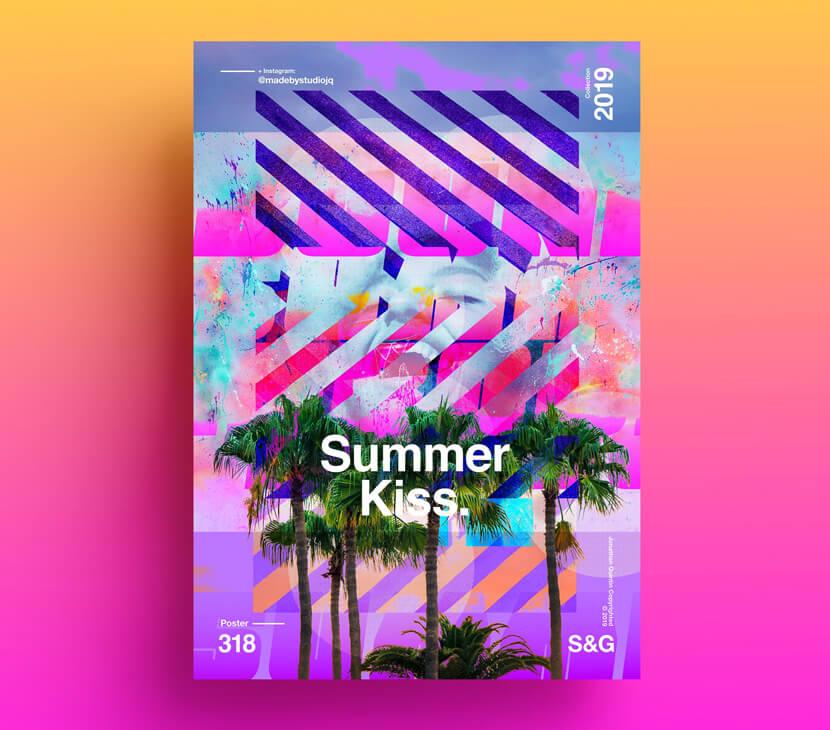 Summer-Kiss-fresh-vivid-colors-poster-example.