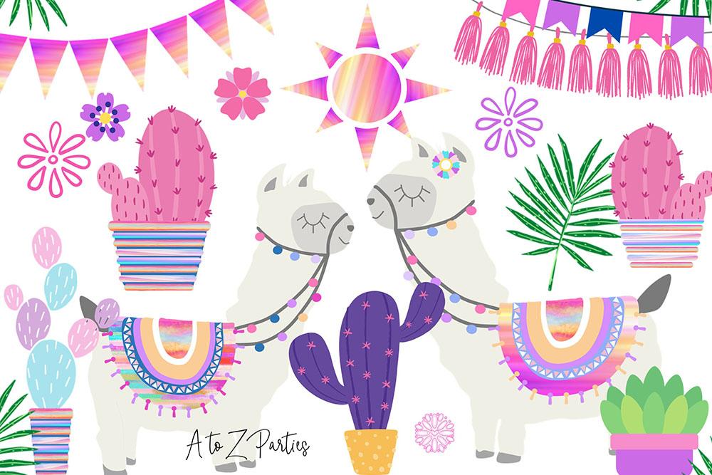 Llama-Clip-Art-Set-Watercolor-Pink-Graphics-1-1.