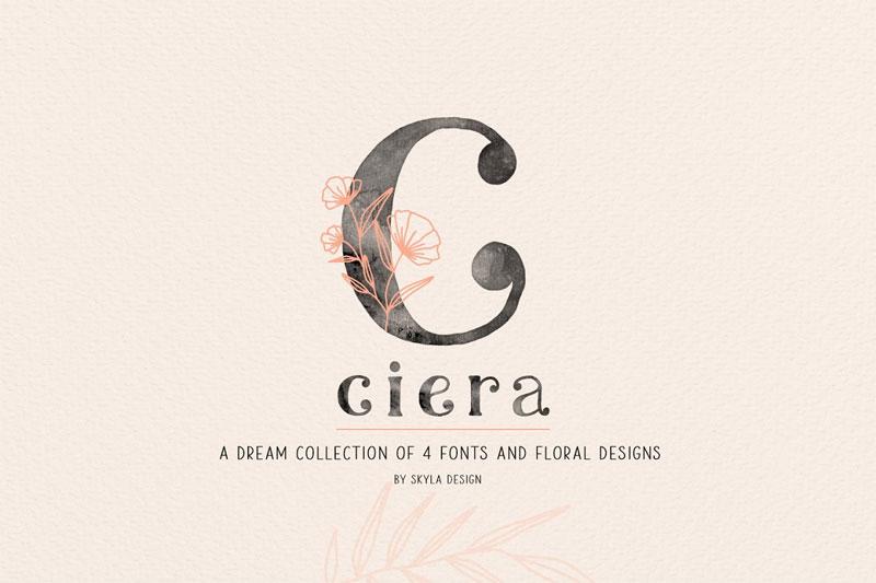 ciera-watercolor-svg-leaf-font.